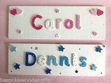 CHILDREN WOODEN NAME PLAQUE Handmade Personalised Wood Door/Wall Sign Keepsake