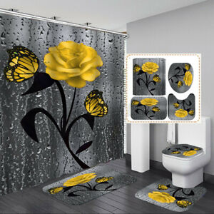 Butterfly Rose Fabric Waterproof Shower Curtain Toilet Lid Cover Bathroom Mat