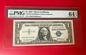 $1 1957 SILVER CERTIFICATE FR#1619 AB BLOCK PRIEST ANDERSON PMG 64 EPQ