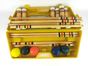 Spalding Croquet Set In Yellow Case Missing One Ball Excellent Condition