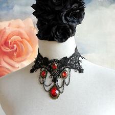 Black Gothic Punk Halloween Victorian Goth Lace Vampire Burlesque Vintage Choker