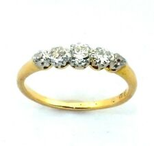 Mujer 18ct 18 quilates anillo oro amarillo Set con 5 diamantes, Tamaño RU - M