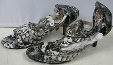 Pair of Exotic Studded Gladiator Heel Sandals Snake Skin Look size 9/9