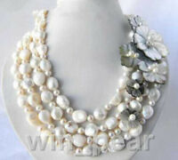 4 Strands 8-13mm White Round Baroque Freshwater Pearl Shell Flower Necklace