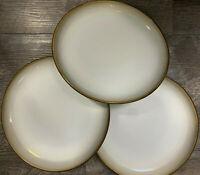 "Set Of 3 Salad Dessert Plates in Carousel Brown by Sango Stoneware #5141 8 1/4"""