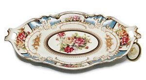Royalty Porcelain Serving Tray, Vintage Blue Floral Design, Gold Bone Chine