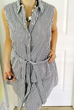 COUNTRY ROAD WOMENS TUNIC DRESS CHECK BLACK WHITE COTTON SLEEVELESS OVERLAY SZ 1