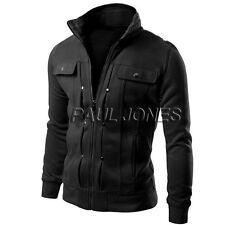 Hombre Corte Slim Cuello Alto Abrigo suéter Chaqueta Militar cálido de invierno