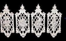 ELEGANT SET OF 4 MATCHING WHITE & SILVER FRUIT & FLOWER WALL PLAQUES - NEW