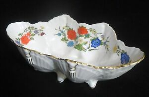 """John Aynsley FAMILLE ROSE Oval Shell Shaped Dish 8.5"""" - Bone China, Gold Accents"""