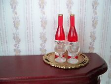 1:12   2 Flaschen Rose mit 2 Gläser auf Tablett