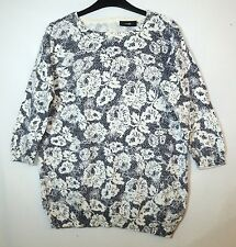 NAVY BLUE WHITE LADIES CASUAL JUMPER PULLOVER SIZE S WALLIS FLORAL COTTON
