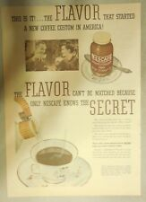 Nescafe' Coffee Ad: This is the Flavor ! from 1930's 11  x 15 inches