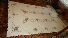 """Vintage New Linen Tablecloth Embroidered Cutwork Floral Ecru & Taupe 64"""" x 100"""""""
