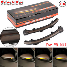 Pair Smoked Side Mirror Sequential Blink Turn Signal Lights For 15-up VW MK7 Gol