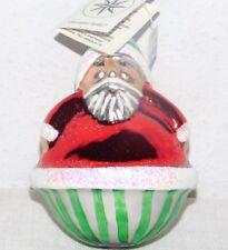 "1990 Christopher Radko Round Roly Poly Santa Christmas Tree Ornament & Tag 5"""