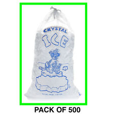 Crystal Clear Commercial Ice Bags with Drawstring 500 Pack (10 lb), Extra STRONG