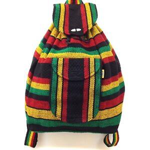 Authentic RASTA Bag Beach Hippie Baja Ethnic Backpack Made in Mexico Unisex 01
