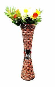 Gorgeous 55CM Metal Galvanise Wicker Soft Woven Vase Diamante Home Decor XMAS