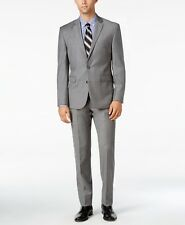 $1499 VINCE CAMUTO Mens Slim Fit Flannel Wool Suit Gray 2 PIECE JACKET PANTS 38R