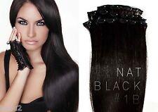 "20"" CLIP IN EUROPEAN HUMAN HAIR EXTENSION WEFTS NAT BLACK #1B HALF HEAD"