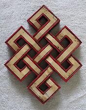 WOODEN HAND CARVED TIBETAN AUSPICIOUS SYMBOL ENDLESS KNOT