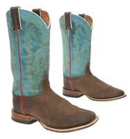 Roper Boys Boone Criss Cross Embroidered Cowboy Boot Square Toe Brown 7 D