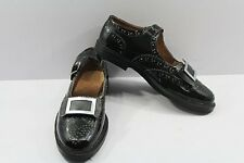 Piper & Drummer Ghillie Brogues Bow Tie Buckle Shoes Black Patent Leather Upper.