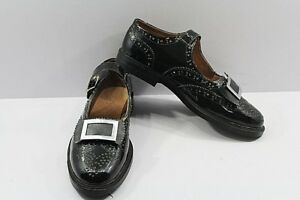 Piper or Drummer Ghillie Brogue Buckle Shoes Black Patent Leather Upper