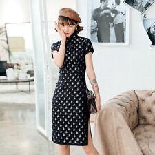 New Luxurious Chinese Black Satin Short Dress Cheongsam Qipao lcdress144