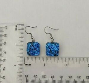Fused Teal/Black Dichroic Glass Earrings/Surgical Steel Ear wires/New
