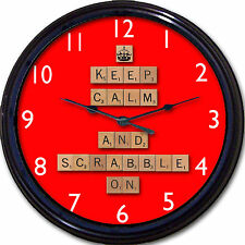 Scrabble Wall Clock Keep Calm and Scrabble On Word Board Game Tiles New 10""
