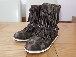 Geox Repira Girls Noha C Green Camouflage Suede Leather Breathable Tassel Boots