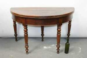 Antique Walnut French Louis Philippe demi-lune flip top console table wine