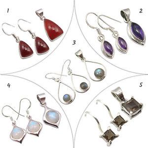 Silver 925 5 Earrings Pendants Real Gems Women's Jewelry Wholesale Lot New Sets