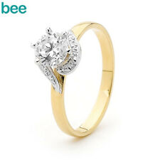 Simulated Diamond 9k 9ct Solid Yellow Gold Solitaire Ring Size P 7.75 22031