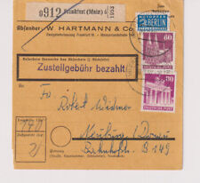 Bizone/construyeron, 93/94eg, paquete mapa Frankfurt 6, 7.2.52