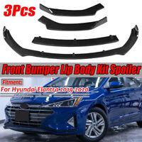 3X Carbon Fiber Look Front Bumper Lip Spoiler Splitter For Hyundai Elantra 19-20