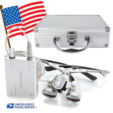 Dental Loupes 3.5X 420mm Surgical Medical LED Head Light Lamp Metal Case Box USA