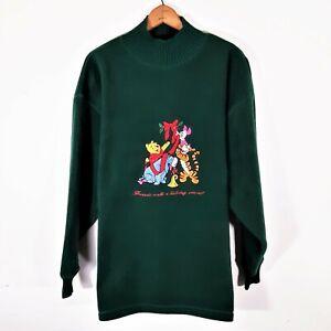 Vintage Disney Winnie The Pooh Fleece Sweatshirt 90s Green Pile Embroidered XL