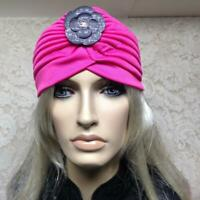 Navy Blue Sequin Embellished Turban Headpiece 1920s Flapper Cloche Hair Vtg 4771