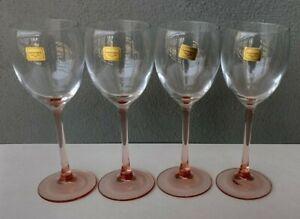 LUMINARC - CRISTAL D'ARQUES - ROSE - PINK STEM WINE GLASSES - SET OF 4 - FRANCE