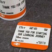 Personalised School Teacher Gift Coaster Train Ticket Style Print   Fun Present