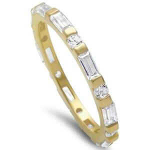 Yellow Gold Plated Round & Baguette Cz Band .925 Sterling Silver Ring