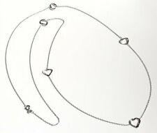 Halskette Silber 925 Collier Herz 80 cm Kette rhodiniert Sterlingsilber sd107