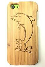 iPhone 5c Bamboo Wood Case ( Dolphin Laser Engraving ) 100% Genuine Wood Cover✔️