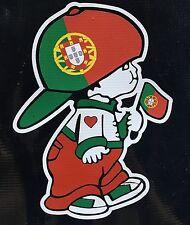 Portugese Boy holding Portugal National Flag Car Decal Sticker