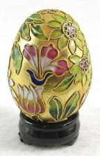 Gorgeous Gold Cloisonne Enamel Floral Collectible Egg with Wooden Stand