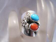 Vintage Carol Felley Turquoise Coral Flowers Sterling Silver Ring