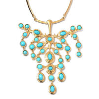"""925 Silver Yellow Gold Over Sleeping Beauty Turquoise Necklace Size 18"""" Ct 11.5"""